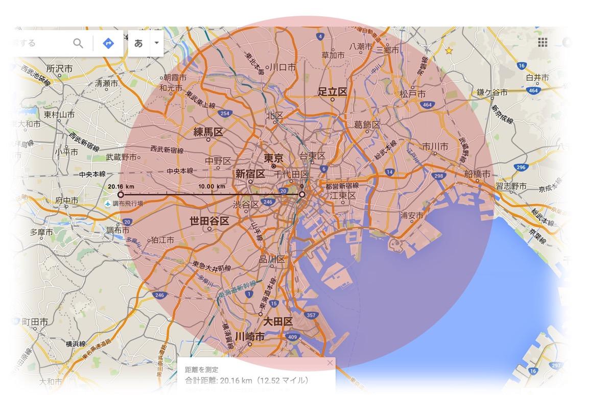 20km radius from tokyo