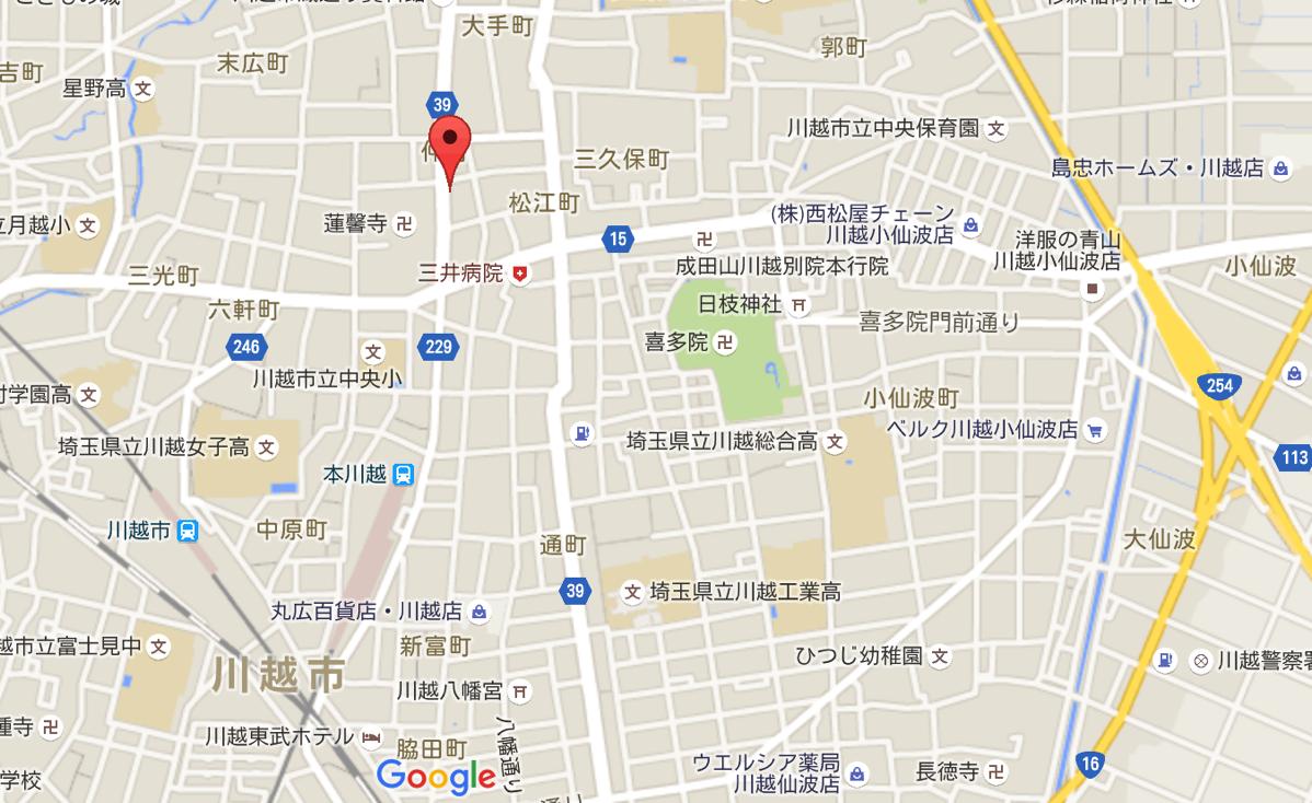 Map toshino coffee at kawagoe